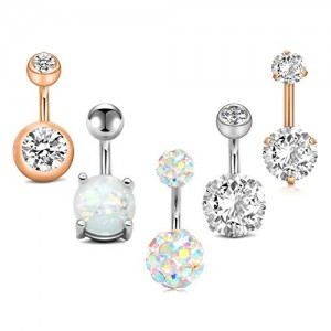 Vcmart 5pcs Jeweled Belly Button Rings 14G Surgical Steel Round Cubic Zirconia Navel Barbell Body Piercing Short Belly Bar 1/4' 3/8' 6mm 10mm