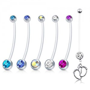 Vcmart 14G Flexible Pregnancy Belly Button Rings Bioplast Sports Maternity Belly Rings 1 1/2Inch (38mm) Navel Barbell Retainer