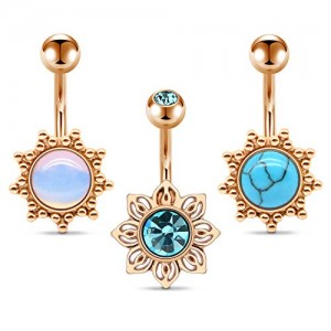 Vcmart 14G Stainless Steel Belly Button Rings for Women Girls 10mm Belly Bar CZ Marble Stone Synthetic Opal Belly Navel Barbell Rings Piercing Jewelry