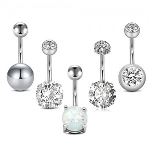 Vcmart 5pcs 14G Belly Button Rings Surgical Stainless Steel CZ Pack Navel Barbell for Women Girls Piercing Rings Jewelry Belly Bar 3/8' 10mm