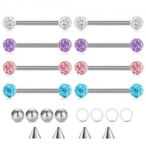 Vcmart Surgical Steel Crystal FeridoTongue Rings Nipplerings Piercing Women 14g 5/8' 16mm Straight Tongue Piercing Barbell w Replacement Balls