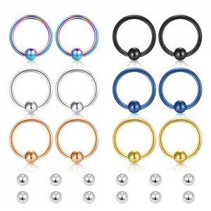 Vcmart 16g Surgical Steel Captive Bead Rings Nose Hoop Lip Eyebrow Tongue Helix Tragus Cartilage Septum Piercing Ring w Replacement Balls