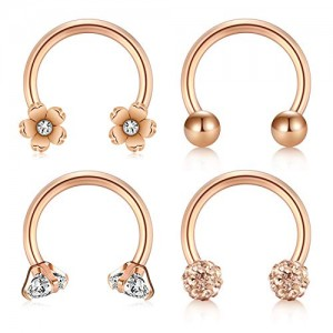 Vcmart 4 Pcs Earrings Daith Trague Cartilage Rings Stainless Steel 16G Horseshoe Rings Conch Helix Earrings Piercing Jewelry Women Men