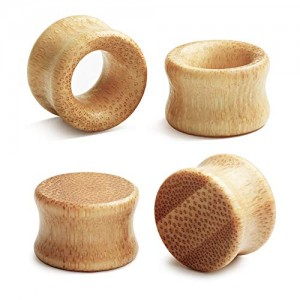 Vcmart 2 Pairs Natural Wood Ear Tunnels Plugs Hollow  Solid Double Flared Ear Expander Plugs Ear Piercing Ear Stretcher Gauges for Women and Men Gauge 8-20mm