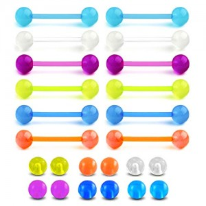 Vcmart 14G 16mm Glow in The Dark Straight Tongue Rings Flexible Nipple Ring Retainer Piercing with Replacement Balls