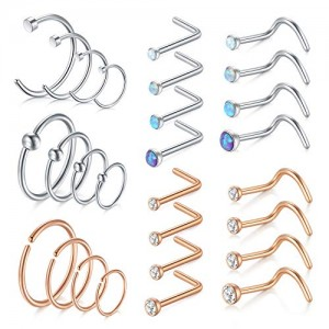 Vcmart 18G Nose Rings Hoop Surgical Steel Nose Rings Studs Screw L-Shaped Nose Stud Tragus Cartilage Helix Earrings Hoop 28pcs Nose Piercing Jewelry Set
