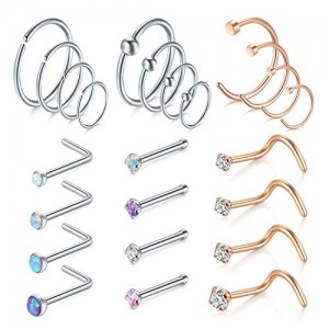 Vcmart 20G Nose Rings Hoop L-Shaped Nose Rings Studs Screw Stainless Steel Nose Piercing Tragus Cartilage Helix Earrings Hoop Piercing Set