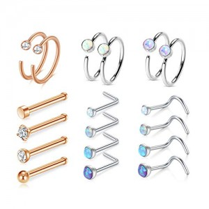 Vcmart 20G Nose Rings Hoop Stainless Steel Nose Rings Studs Opal CZ Nose Screw Piercing Jewelry Tragus Cartilage Helix Earrings Hoop