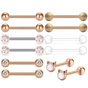 Vcmart 6 Pairs 14G Tongue Rings Nipple Ring Surgical Steel Nipplerings Piercings Women 16mm 5/8' Tongue Piercing Jewerly