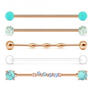 Vcmart 14g Industrial Barbell Stone Industrial Piercing Surgical Steel Cartilage Earrings 1 1/2'(38mm) Bar Length