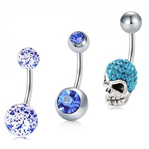 Vcmart 3Pcs Belly Button Rings Stainless Steel 14G with Skull Top Navel Rings Barbells Studs Women Girls Body Piercing Jewelry