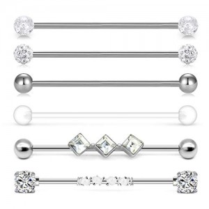 Vcmart 14g Industrial Barbell Surgical Steel Cartilage Earrings CZ Industrial Earring Crystal Ferido Industrail Piercing 1 1/2'(38mm) Bar Length