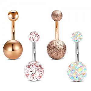 Vcmart 4Pcs Belly Button Rings Stainless Steel 14G Paved Crystal Ball Navel Rings Barbells Studs Women Girls Body Piercing Jewelry Bar 8-12mm