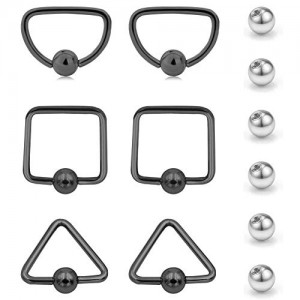 Vcmart 12 Pcs Nose Rings and Replacement Ball Tragus Cartilage Earrings 16G Stainless Steel D Square and Triangle Shaped Jewelry Piercing Barbell Parts for Women Girls Men Silver