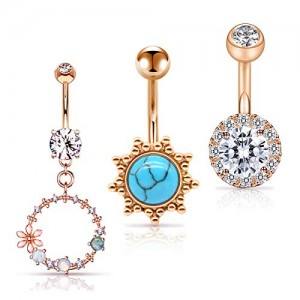 Vcmart 14G Belly Button Rings CZ Stone Long Dangle Belly Rings Stainless Steel Navel Piericng Barbell 10mm 3/8 Inch Bar