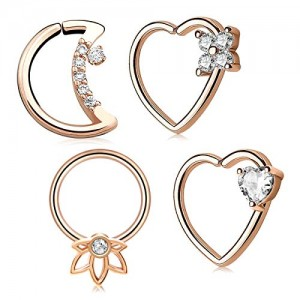 Vcmart Moon Heart CZ Daith Earrings Cartilage Earring Hoop 16G 14G Helix Tragus Earrings Piercing Jewelry