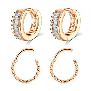 Vcmart 4Pcs Earring Hoop Huggie 16G Stainless Steel Cubic Zirconia Small Cartilage Earring Hoop Hinged Clicker Hoop Earring