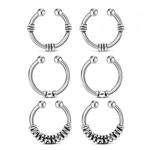 Vcmart 6Pcs Fake Nose Septum Hoop Faux Nose Septum Ring Non-Pierced Clip On Ear Helix Cartilage Rings for Women Men