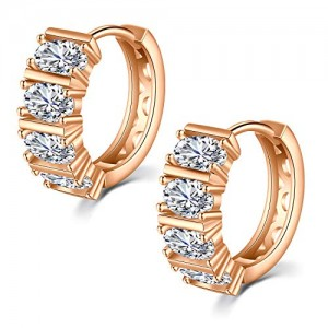 Vcmart Pair of Hoop Earring Cubic Zirconia Hoop Huggie Stainless Steel Round Earring Hoops for Women 14mm