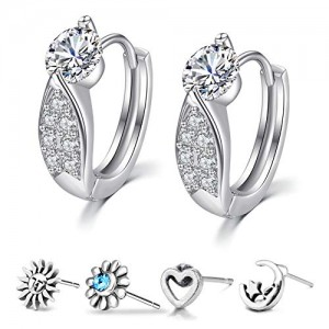 Vcmart Cubic Zirconia Hoop Earrings for Women Ear Lobe Piercing Jewelry Helix Tragus Cartilage Earrings Studs