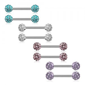 Vcmart Mix-Color Stainless Steel Straight Barbell Tongue Rings Bars Piercing 14mm 16mm Length