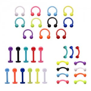 Vcmart 16G Eyebrow Ring Lip Labret Nose Rings Acrylic Flexible Cartilage Ear Piercing Jewelry Pack