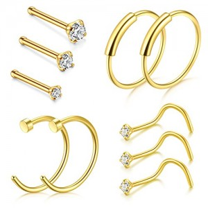 Vcmart Nose Ring Hoop, 22G 8mm Nose Rings Studs Piercings Hoop Jewelry Stainless Steel 1.5mm 2mm 2.5mm