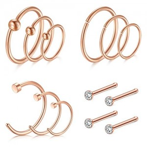 Vcmart Nose Rings Hoop, 16G Nose Rings 8/10/12mm Septum Rings Hoop for Lip Nose Helix Cartilage Piercing Rings Jewelry