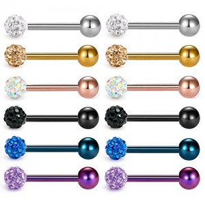 Vcmart Tongue Rings 14G 316L Surgical Steel Czech Rhinstone Paved Ball Metal Ball Nipple Piercing Body Jewelry Piercing 1/2 inch, 9/16 inch,5/8 inch, 3/4 inch