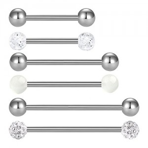 Vcmart 14G Nipplerings Tongue Rings for Women Men Metal Ball Rhinstone Paved Ball Nipple Tongue Piercing Barbells Body Jewelry Piercing 6PCS