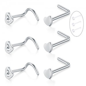 Vcmart Surgical Steel 20 Gauge Heart Nose Screw Bone Pin Stud L Shape Piercing Jewellery Set 6PCS