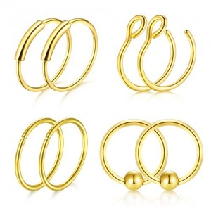 Vcmart 8pcs 20G 8mm Nose Rings Hoop Surgical Steel Fake Septum Rings Lip Ear Eyebrow Piercing Jewelry