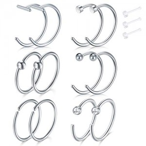 Vcmart 18 Gauge Nose Hoop Rings Fake Nose Piercings Set Stainless Steel Septum Helix Piercing Jewellery 12PCS