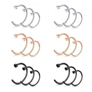 Vcmart Nose Rings Hoop C Shape Ear Helix Cartilage Ring 18G Stainless Steel Body Piercing Jewelry 18pcs