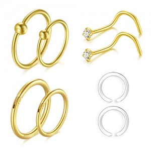 Vcmart Nose Rings Hoop 16G Surgical Steel Nose Rings Studs Nose Piercing Jewelry