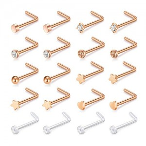 Vcmart Nose Rings Studs-20G 20pcs Surgical Steel Nose Screw L Shape Bone Nose Studs Acrylic Bioflex Clear Nose Rings Nose Piercing Jewelry
