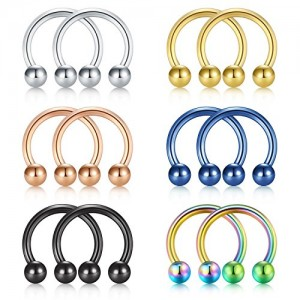 Vcmart Nose Septum Rings Hoop Horseshoe Circular Barbell Lip Nipple Ring 316L Surgical Steel 16G 3/8in