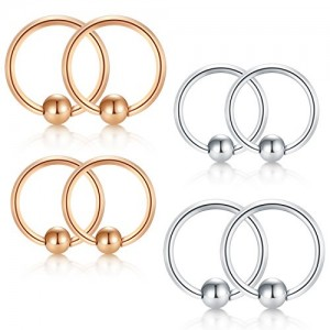 Vcmart Cartilage Hoop Helix Earrings Nose Rings Hoop Stainless Steel Ear Tragus Piercing Captive Bead Rings 20G 10mm 8mm