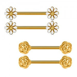 Vcmart Pair of Cute Daisy and Rose Flower Nipple Barbell Ring 14G 5/8 inch Stainless Steel Nipple Bar Piercing Jewelry