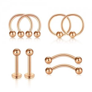 D.Bella1 16G Body Piercing Jewelry Set, 10mm Nose Screw Hoop Tragus Helix Earring Eyebrow Lip Stud Piercing Jewelry