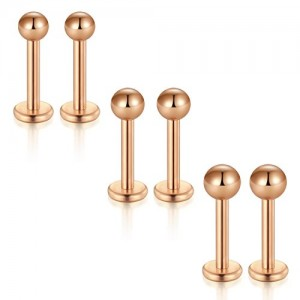 Vcmart Ball Lip Stud,6pcs 6mm 8mm Tragus Forward Helix Cartilage Monroe Labret Piercing Studs Bar 2/3/4mm Top