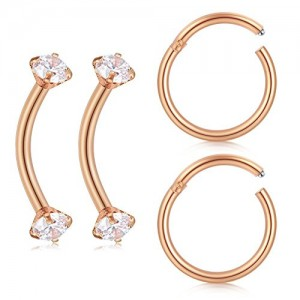 Vcmart 16G Cartilage Daith Earrings Tragus Rook Forward Helix Earring Curved Eyebrow Rings Lip Ring 2PRS 3/8'