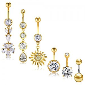 Vcmart 14G Belly Button Rings Belly Ring Bars Stainless Steel with CZ Navel Ring Body Piercing for Women Girls 5PCS
