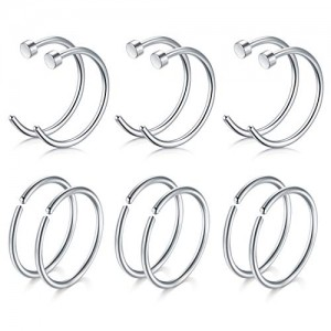 Vcmart Nose Hoop Ring- 20G 12pcs Stainless Steel Fake Nose Rings Hoop 6mm 8mm Hoop Nose Piercing