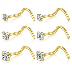 Vcmart 6pcs 20G Nose Screw Studs Surgical Steel Nose Rings Piercing 1.5mm 2mm 2.5mm CZ Inlaid