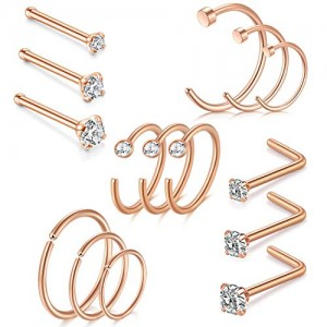 Vcmart Fake Nose Rings Hoop 20G 8mm 10mm 12mm Hoop Nose Piercing Stainless Steel L Shaped Nose Ring Bone Pin Straight Nose Studs 1.5mm 2mm 2.5mm Clear CZ