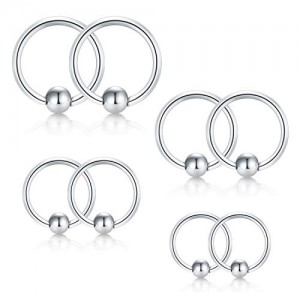Vcmart 20G Cartilage Tragus Earrings Anti-Helix Daith Lobe Earring Hoop Nose Septum Lip Rings Stainless Steel 8PCS