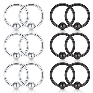 Vcmart 20G 8mm Nose Hoop Lip Eyebrow Tongue Helix Tragus Cartilage Earring Septum Piercing Ring
