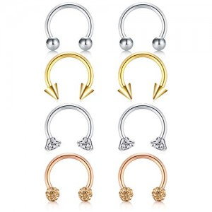 Vcmart 16G 8Pcs Ball Cubic Zirconia Nose Septum Horseshoe Earring Eyebrow Lip Helix Tragus Cartilage Piercing Ring 8mm
