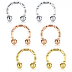 Vcmart 16G Surgical Steel Nose Septum Horseshoe Hoop Earring Eyebrow Tragus Lip Piercing Ring 8mm 6Pcs